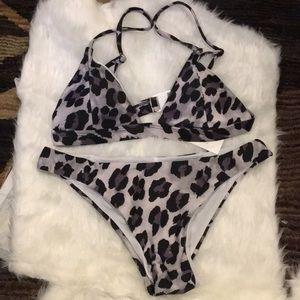 Grey Leopard Bikini Set